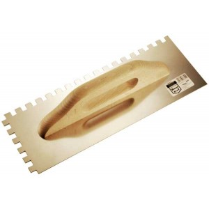 Stainless trowel  380mm  notched 10*10 wooden handle