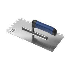 Stainless trowel Al 270mm notched 10*10 rubber handle